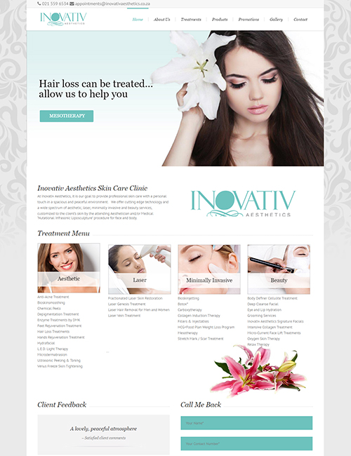 Inovativ Aesthetics Wordpress Website Design